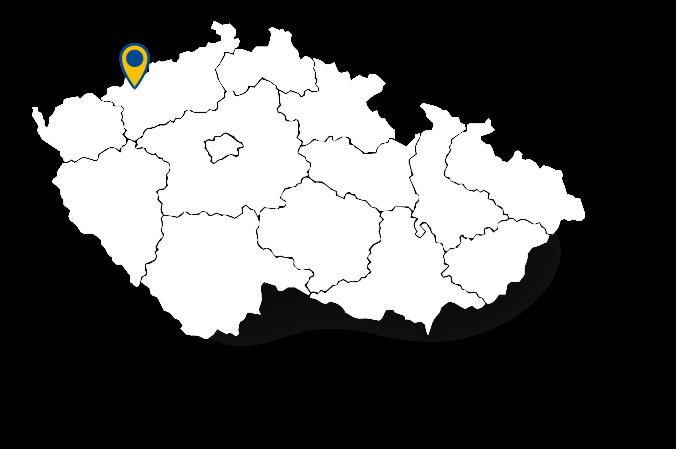 Mapa s polohou města Horní Jiřetín